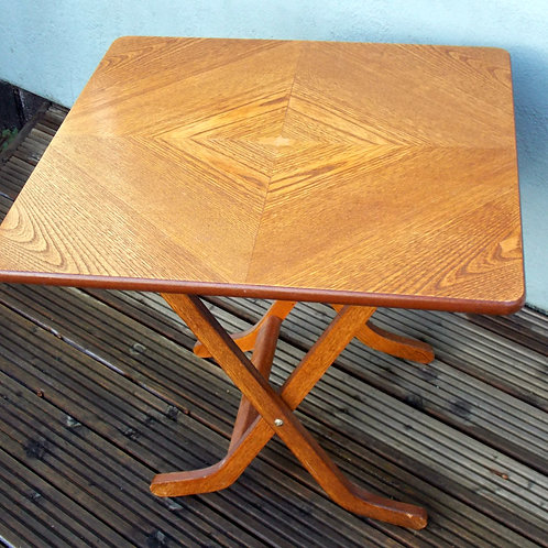 1960S Oak Folding Table BY MEREDEW Hexagonal Pattern