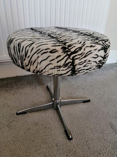 Mid-Century Stool 1960s New Upholstery