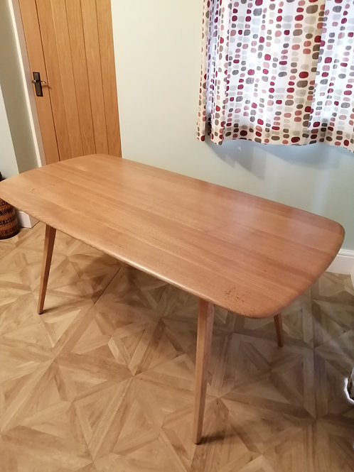 Ercol 382 Original 1960s Blonde Plank Dining Table Blue Label
