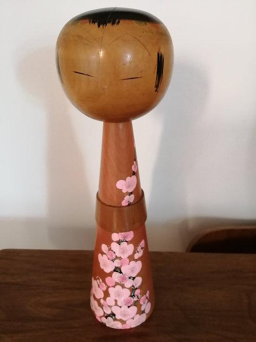 Vintage Large Japanese Kokeshi Doll 36cm Tall Retro 1970s Folk Art Hand Painted