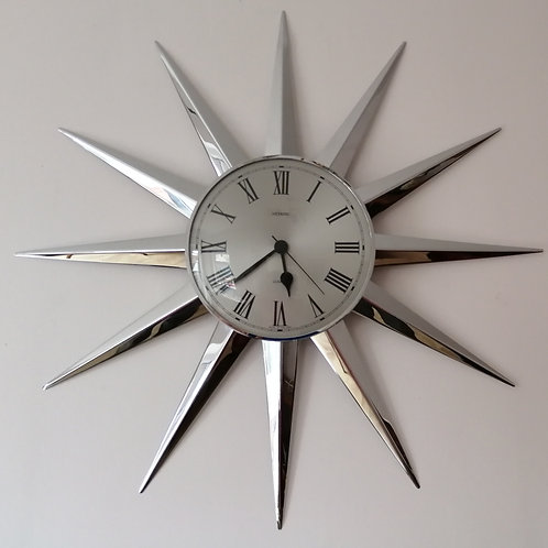 Vintage Metamec Quartz Sunburst Wall Clock in Chrome 1970s Retro 24""