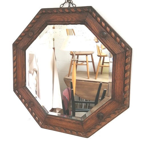 Vintage Arts And Crafts Style Octagonal Oak Wall Mirror