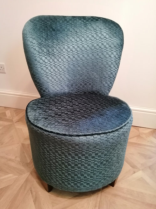 Newly Upholstered Mid-Century Bedroom Chair in Beautiful Blue Fabric