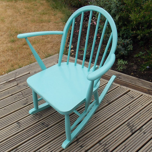 ERCOL Elm Childs Rocking Chair in Teal