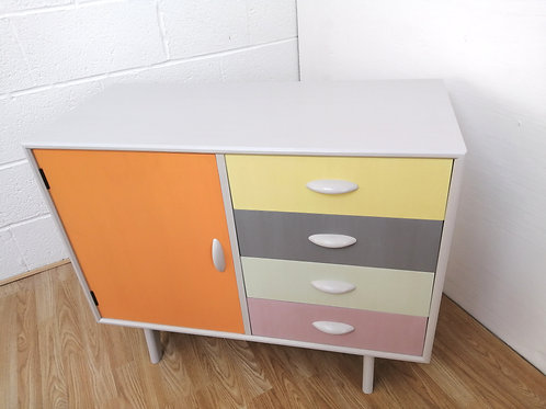 Mid century Hand Painted Compact Sideboard Cupboard with Drawers Herbert Gibb