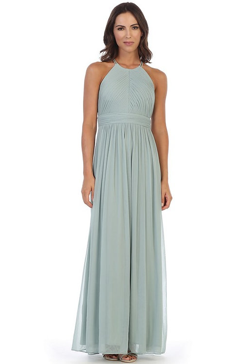 Pleated Halter Chiffon Bridesmaid Dress