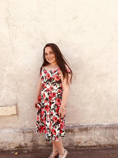 Coldshoulder Rose Print Dress