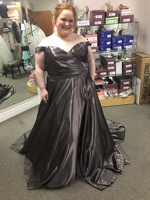 Alyce Paris Charcoal Satin Ball Gown