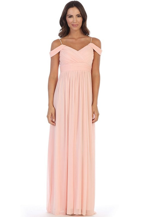 Pleated Off Shoulder Chiffon Gown