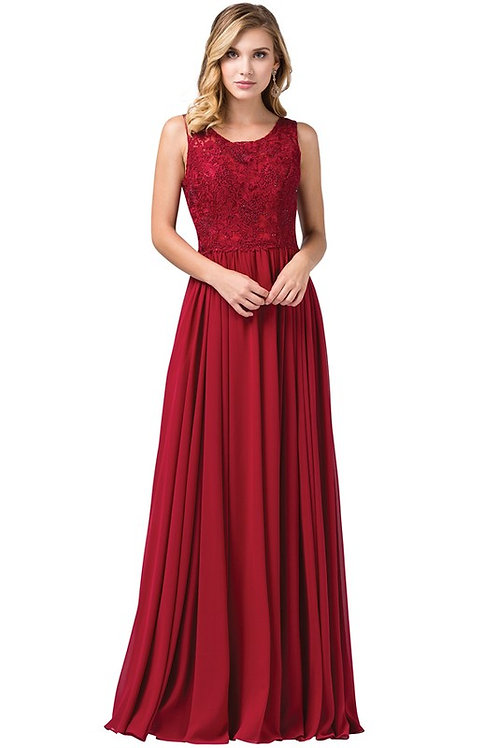 Embroidered Illusion Chiffon Bridesmaid Gown