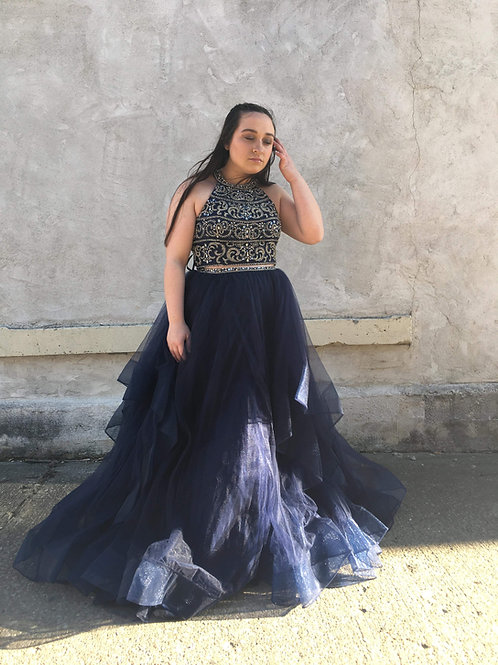 Alyce Paris Navy Two Piece Ball Gown