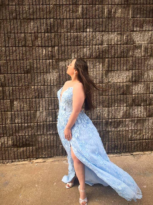 Bali Blue High Slit Prom Gown