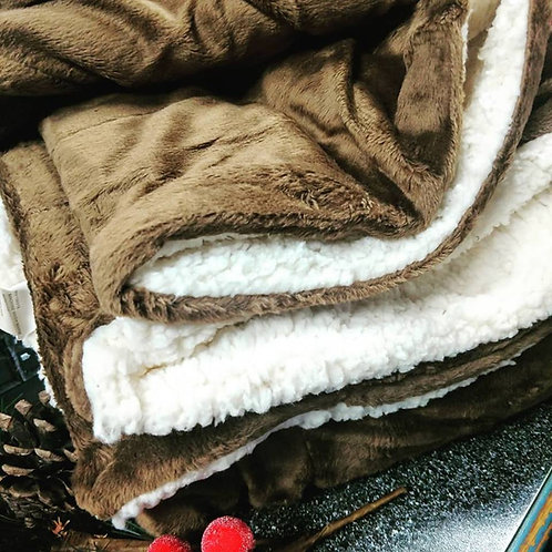 Mink & Sherpa Blanket with Monogram