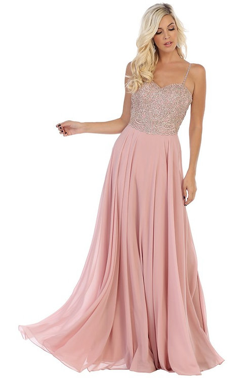 Beaded Spaghetti Strap Chiffon Bridesmaid Gown