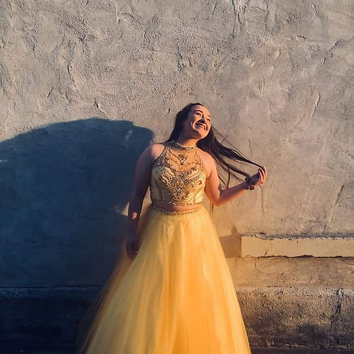 Alyce Paris Yellow Two Piece Ballgown