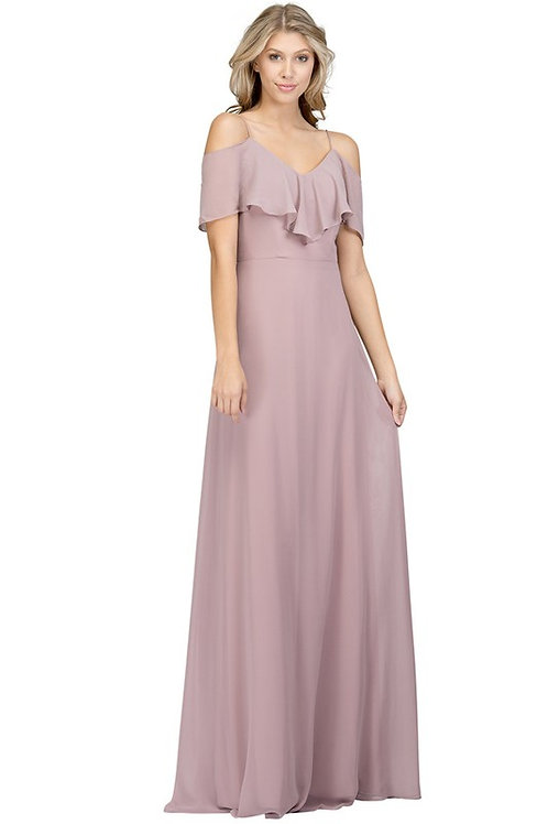 Cold Shoulder Ruffle Chiffon Bridesmaid Gown