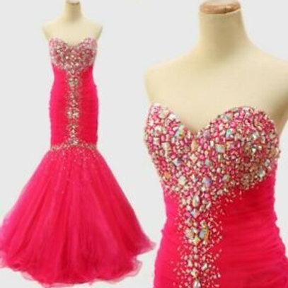 Jovani Hot Pink Mermaid