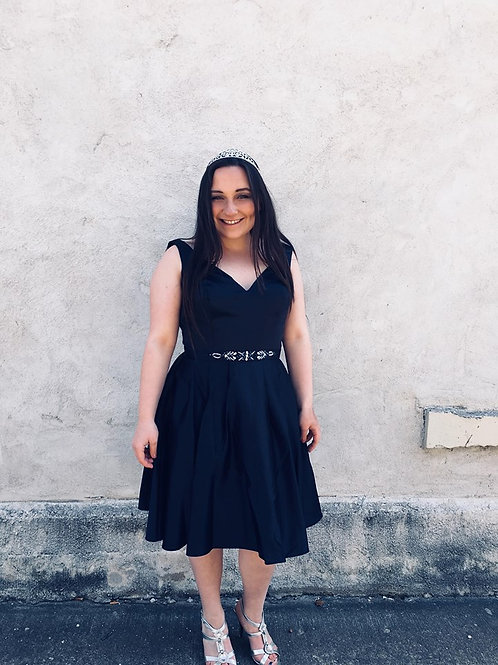 Navy Satin V Neck Short Dress