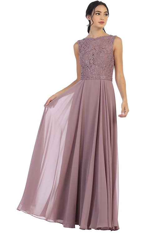 Sleeveless Lace and Chiffon Bridesmaid Dress