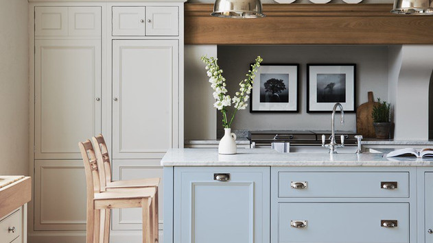 Neptune Chichester kitchen, island in Flax Blue