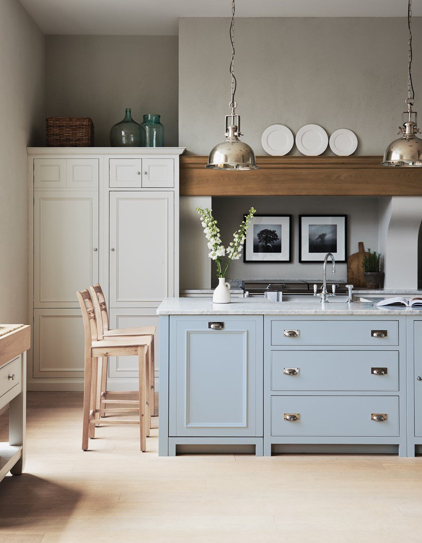 Neptune Chichester kitchen, island in Flax Blue