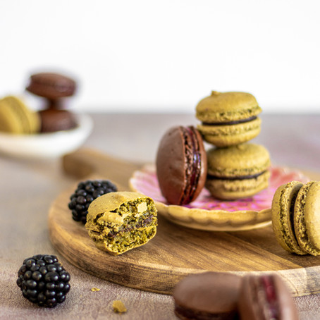 Chocolate-Mint and Cacao-Blackberry French Macarons