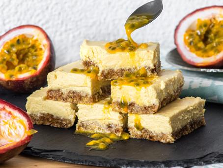 Vegan Passion Fruit Cheesecake Slices