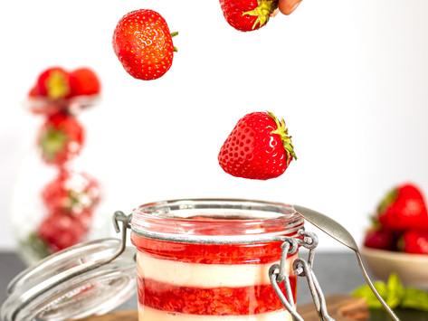 Strawberry Basil Pannacotta