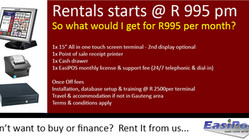 Don't want to buy or finance a POS solution? Rent it from us @ R995 pm ......