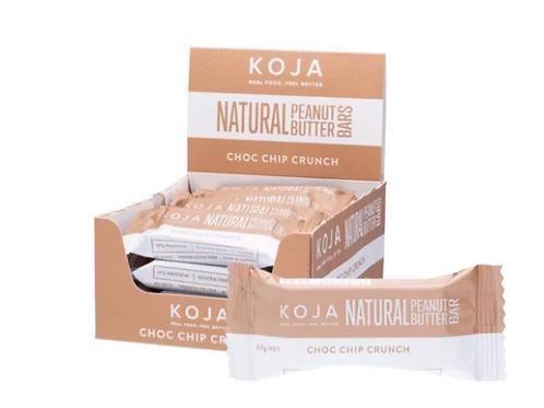 KOJA Natural Peanut Butter Bar Choc Chip Crunch 16x30g