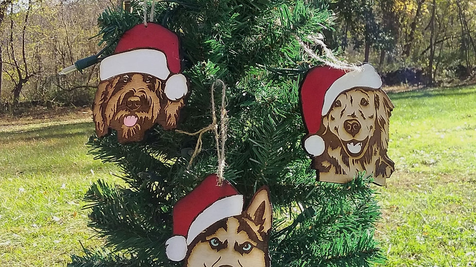 Santa's hat dog ornaments
