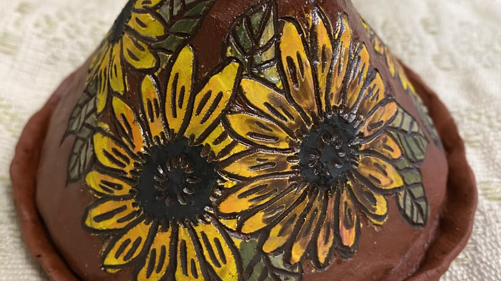 Large Cone Incense Burner with Sunflower