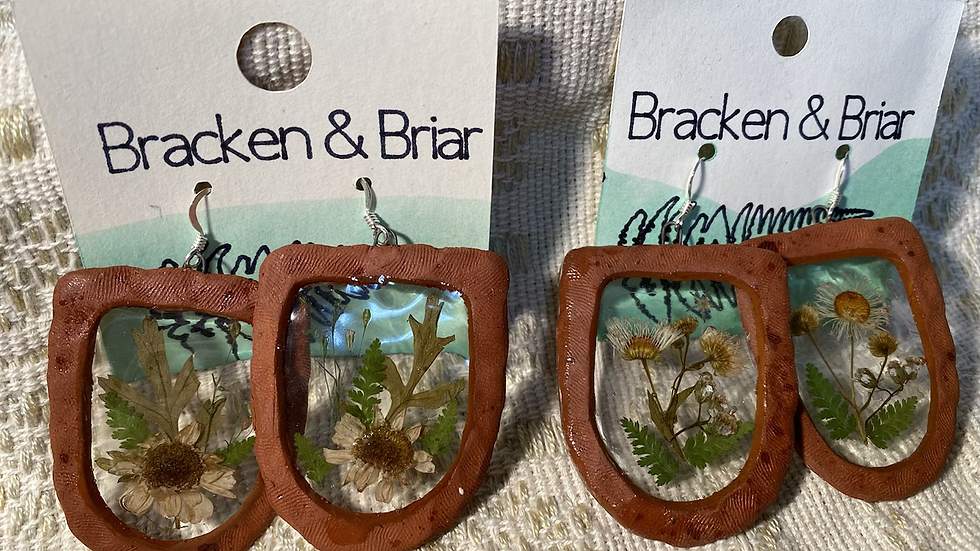 Earrings with Clay & Botanicals