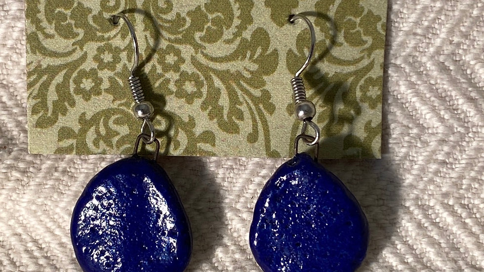 Earrings with Blue Forms