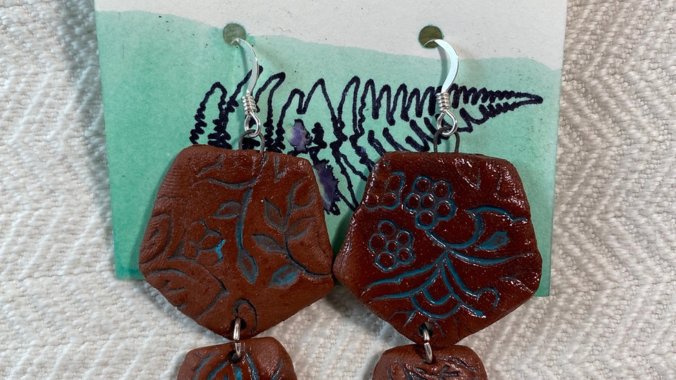 Earrings with Botanical Imprints
