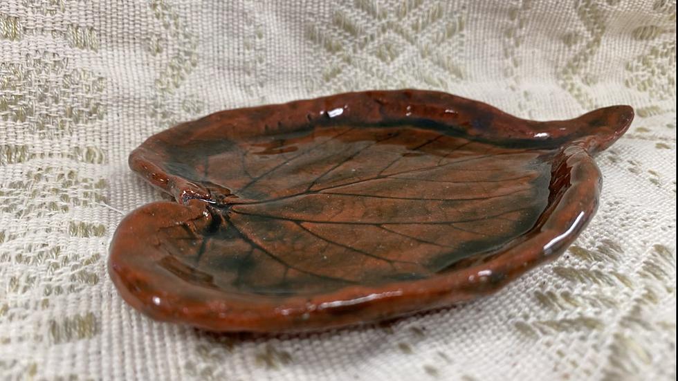 Tray with Leaf  Imprint