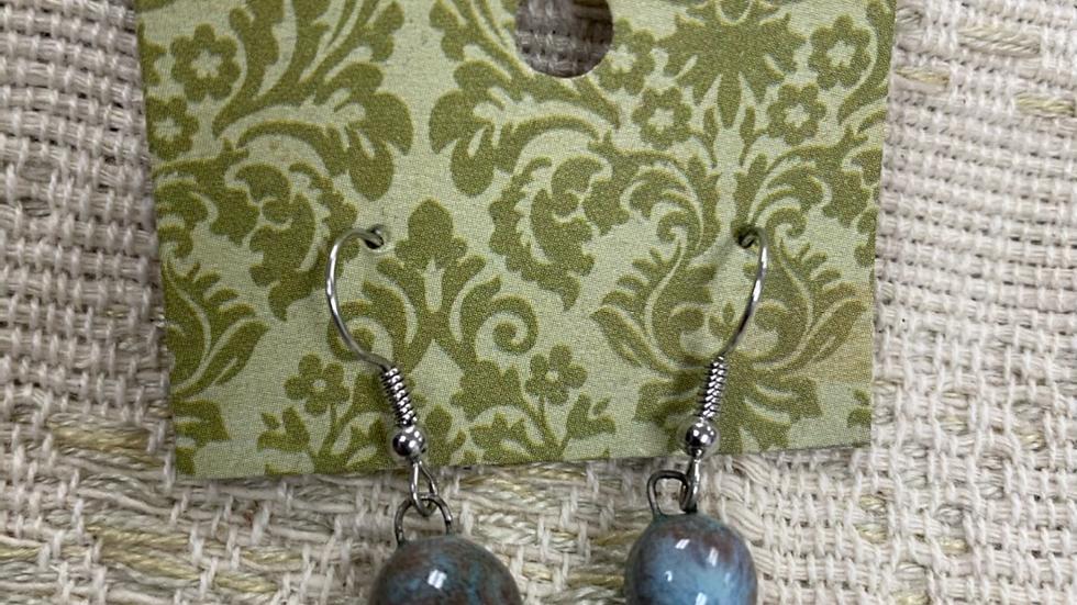 Single Light Blue Clay Bead Earrings