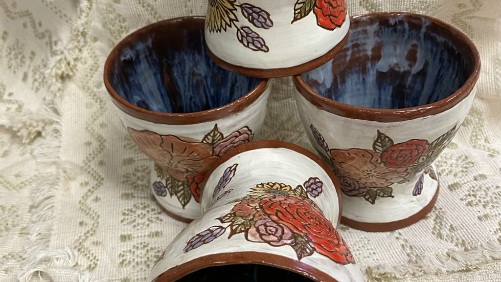 Tumbler with Carved Flowers