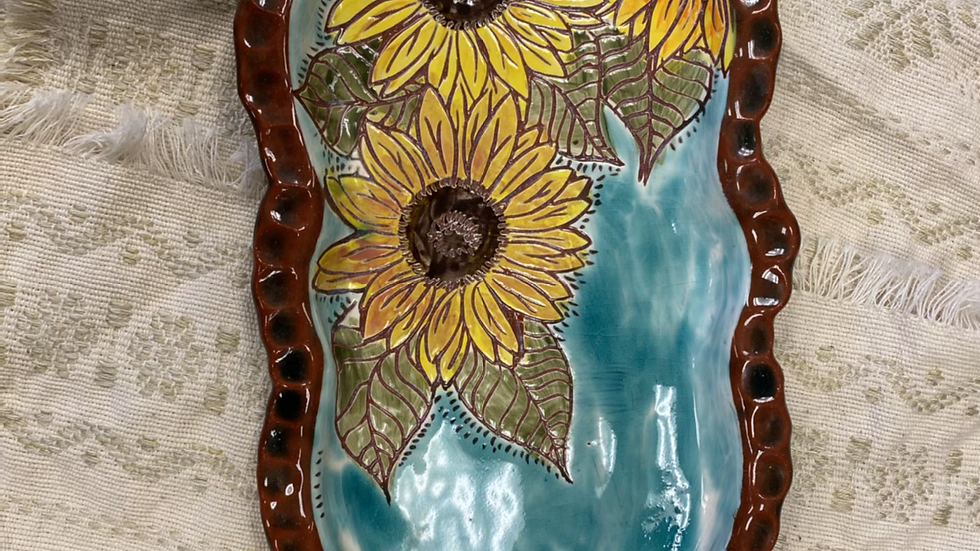 Platter with Sunflower