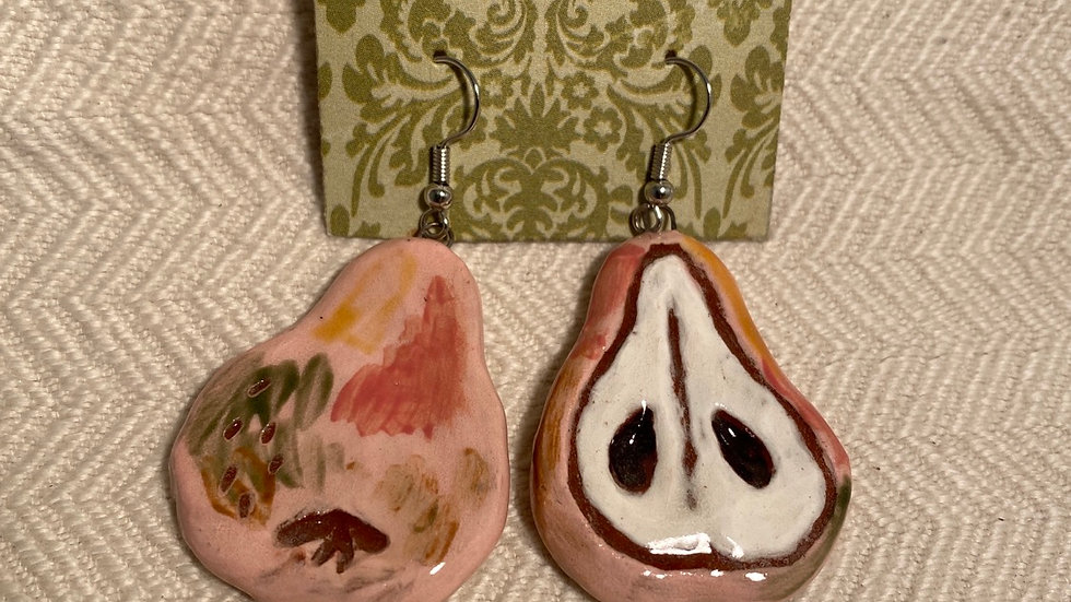 Earrings with Pink Pears