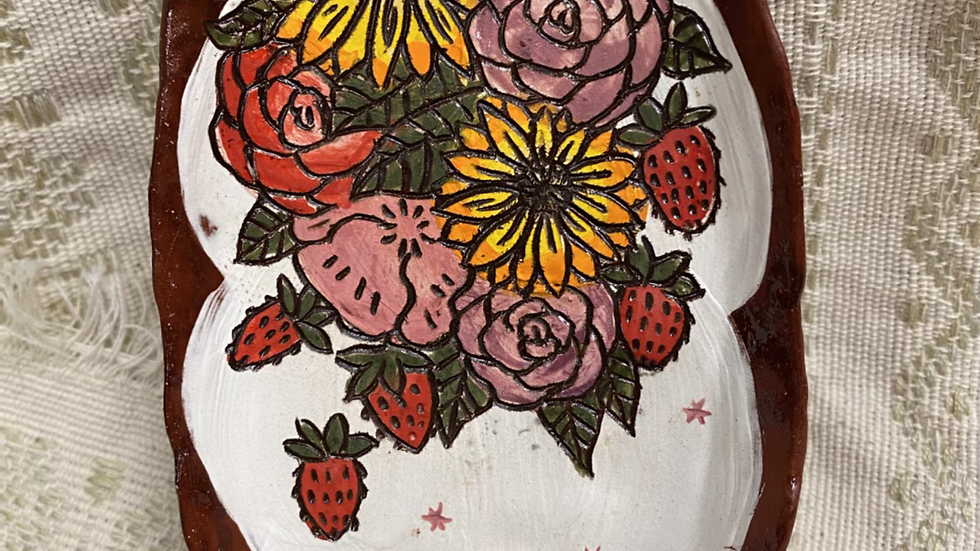Tray with Flowers and strawberries