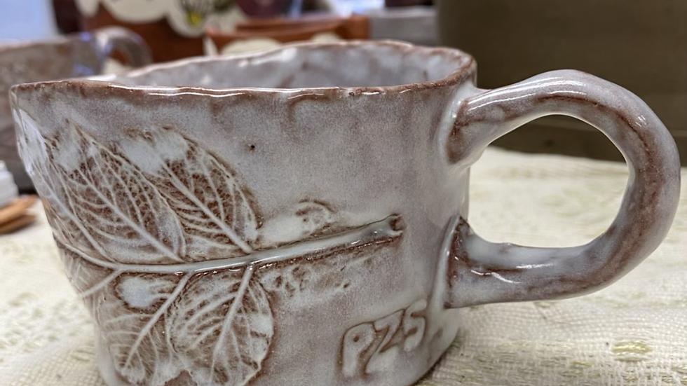 Short Mug with Beach Rose Leaf
