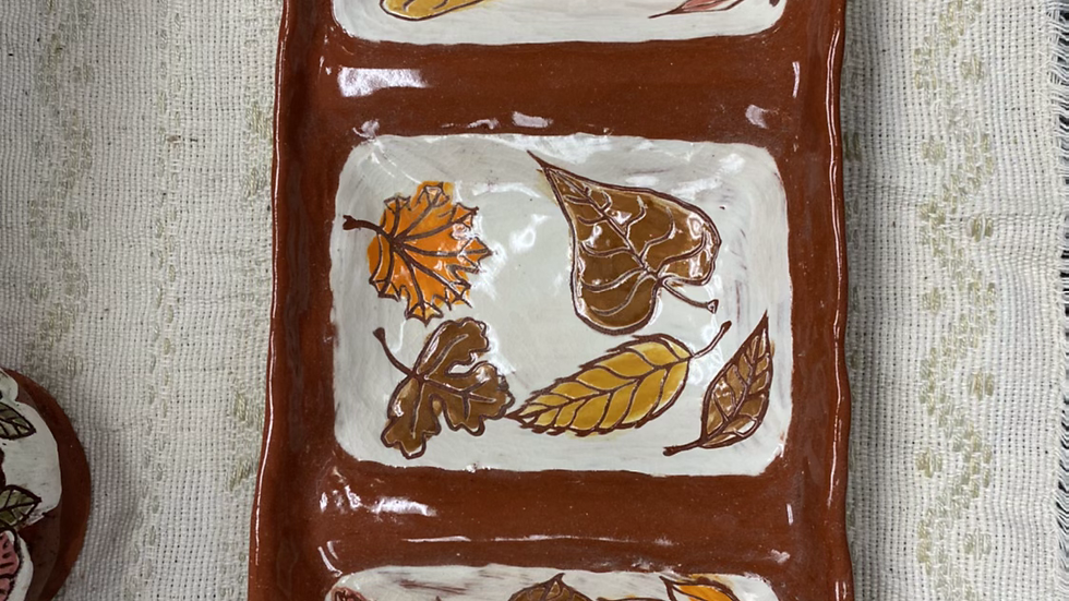 Appetizer Tray with Fall Leaves