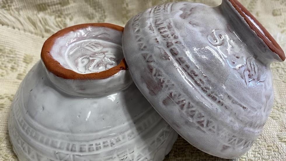 Serving Bowl with Carved Design