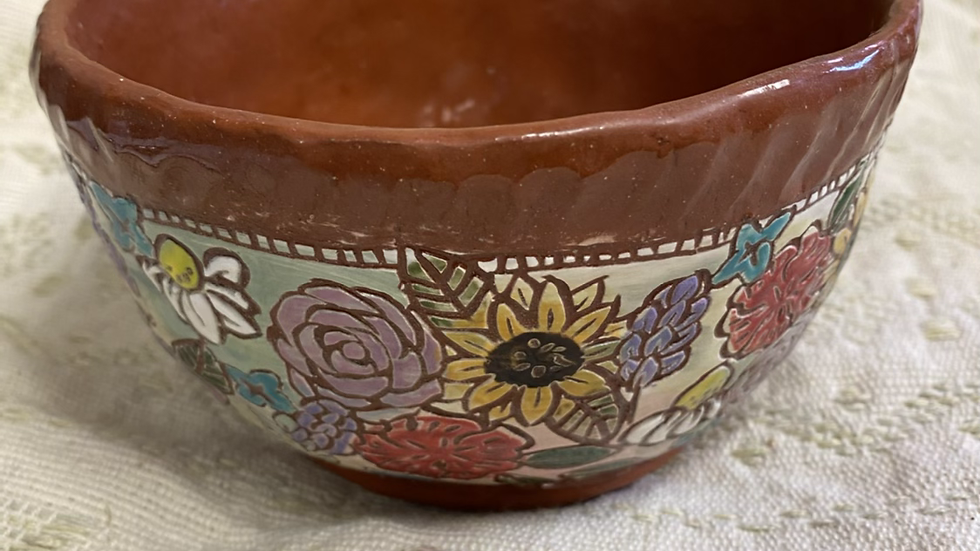 Serving Bowl with Carved Flowers