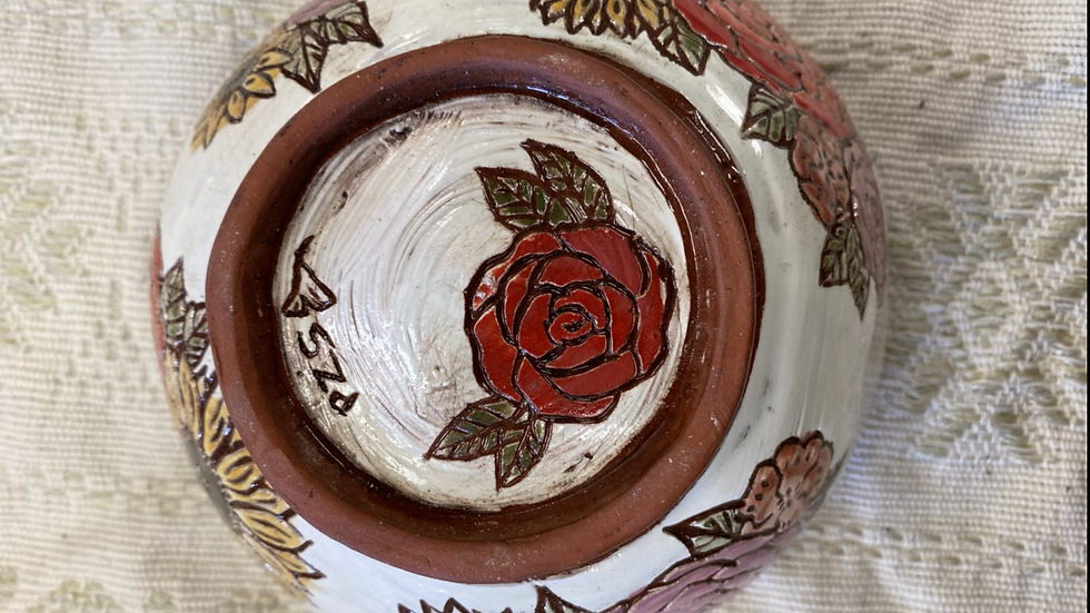 Serving Bowl with a Red Rose