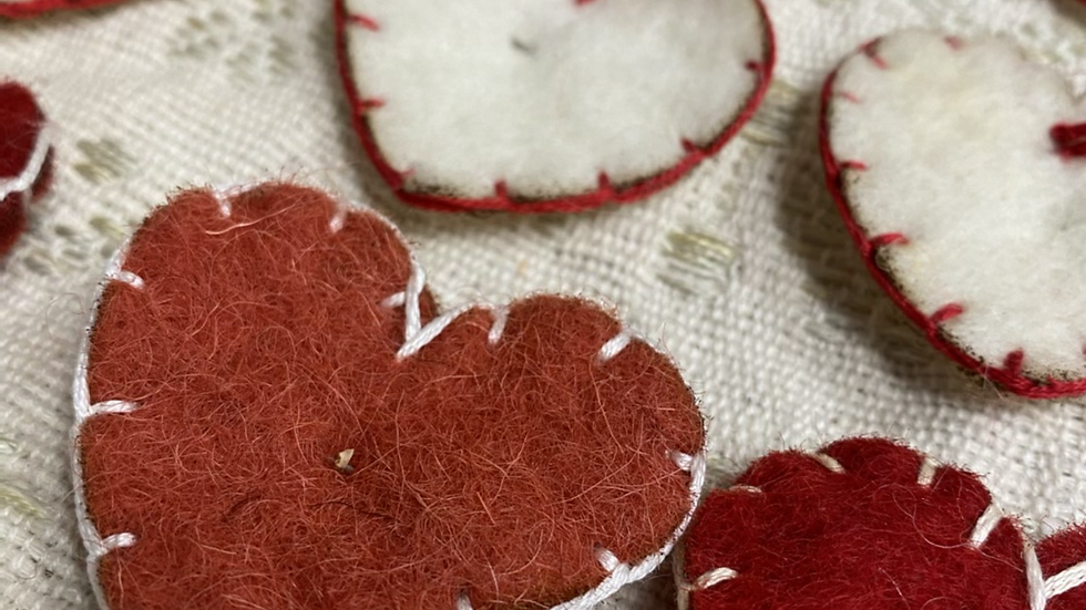 Red Wool Heart Pin