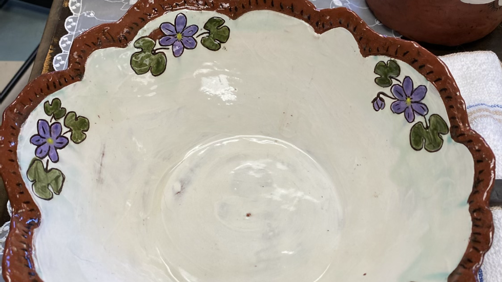 Large Serving Bowl with Purple Flowers
