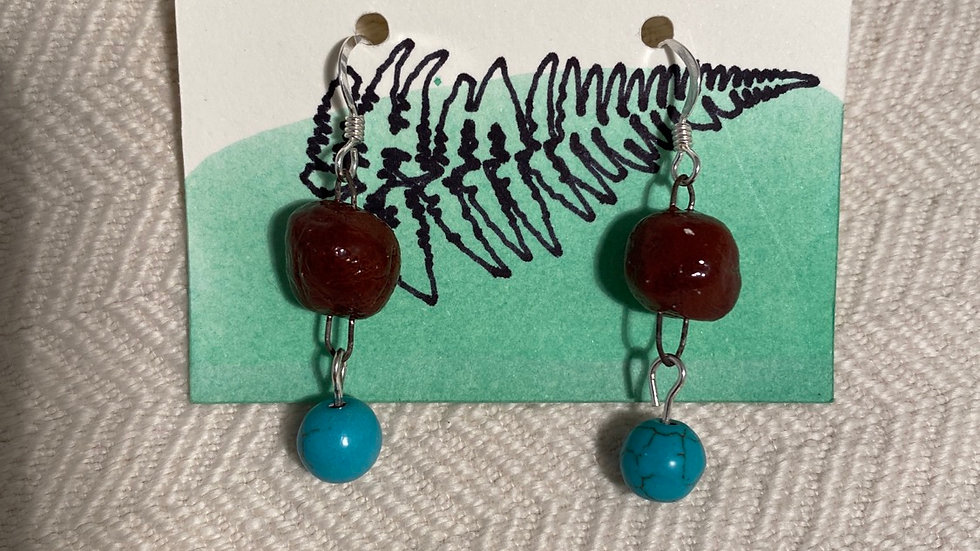 Earrings with a Blue Stone Bead