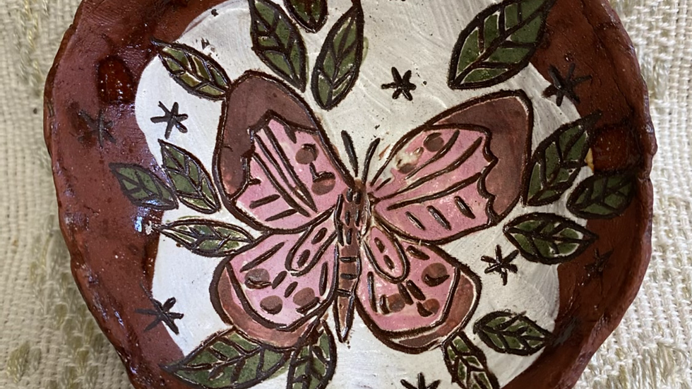 Ring Dish, Pink Butterfly